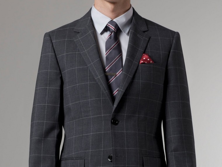 Premium Gray Prince of Wales Suit 1