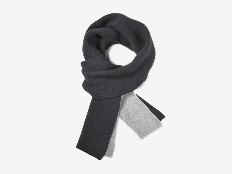 Charcoal and Gray Reversible Cashmere Scarf 1