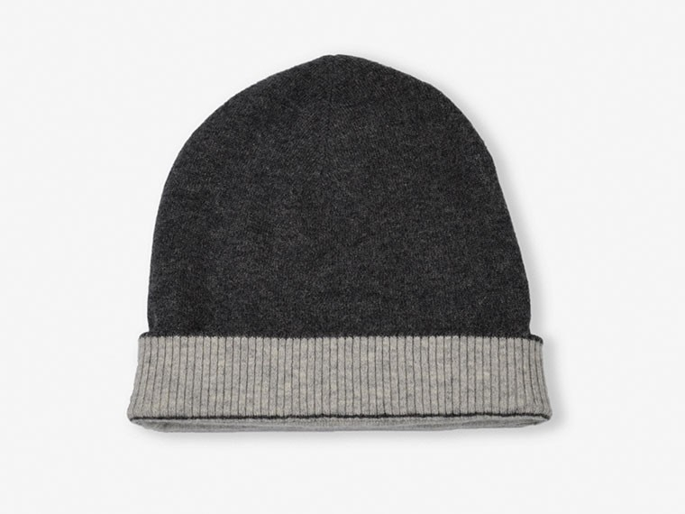 Charcoal and Gray Reversible Cashmere Hat 1