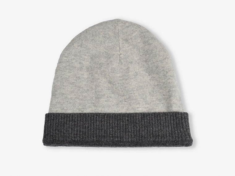 Charcoal and Gray Reversible Cashmere Hat 3
