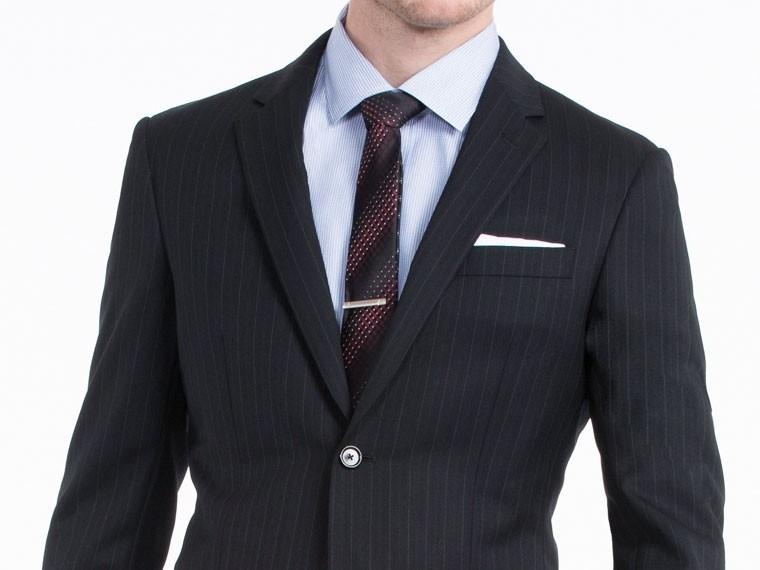 Black Melange Herringbone Suit