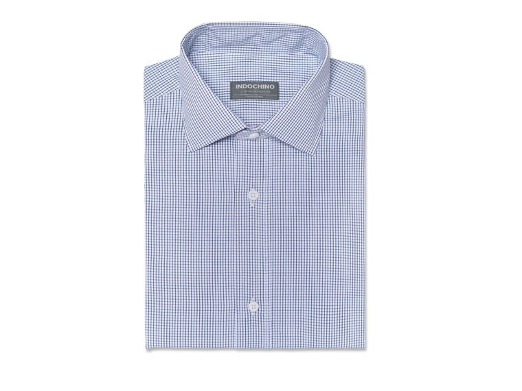 Black and Navy Tattersall Wrinkle-Free Shirt 1