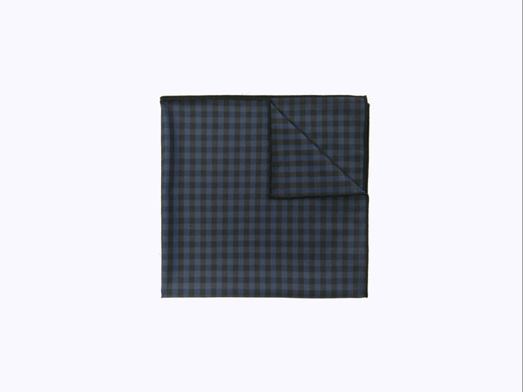 Black and Navy Check Pocket Square 1