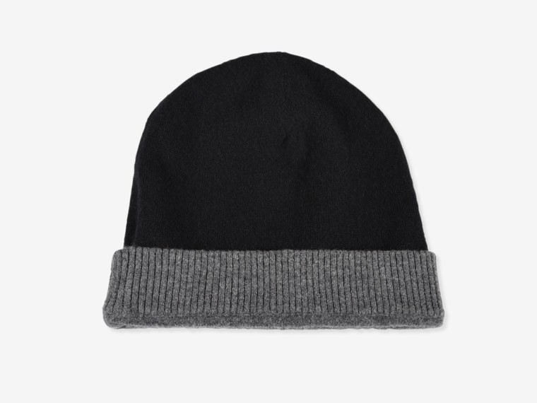 Black and Charcoal Reversible Cashmere Hat 1
