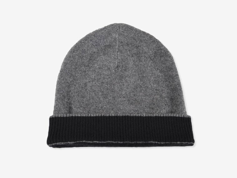 Black and Charcoal Reversible Cashmere Hat 3