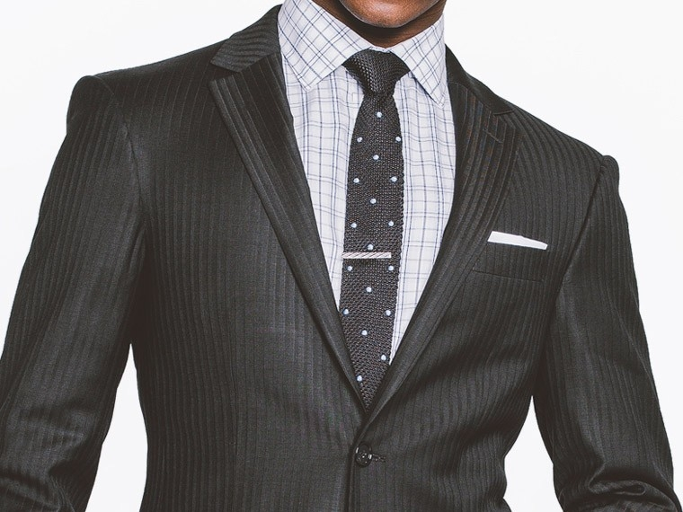 Black Tonal Herringbone Suit