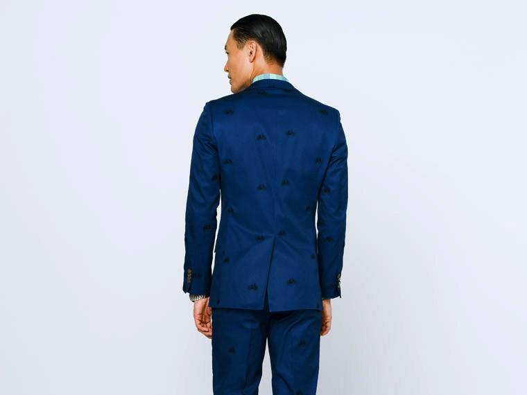 Navy Bike Embroidered Stretch Cotton Suit 2