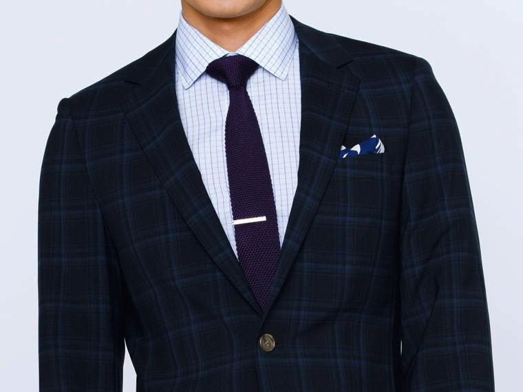 Men's Custom Suits - Navy Plaid Blue Suit   INDOCHINO