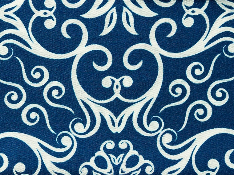 Blue Damask Silk Pocket Square 2