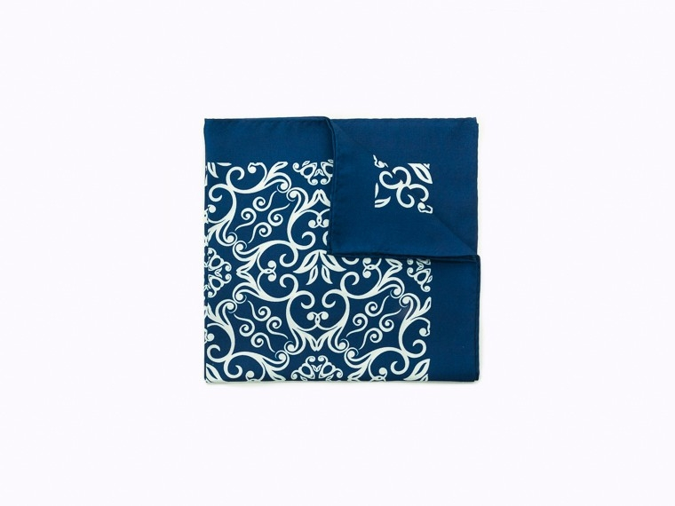 Blue Damask Silk Pocket Square 1