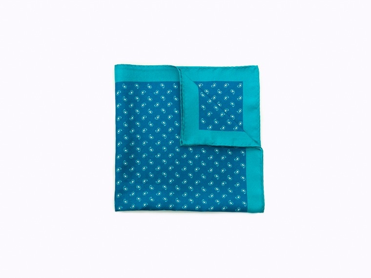 Aqua Micro Paisley Silk Pocket Square 1