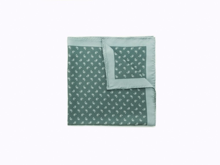 Sage Micro Paisley Silk Pocket Square 1