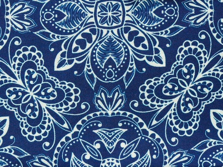 Blue Vintage Damask Silk Pocket Square 2