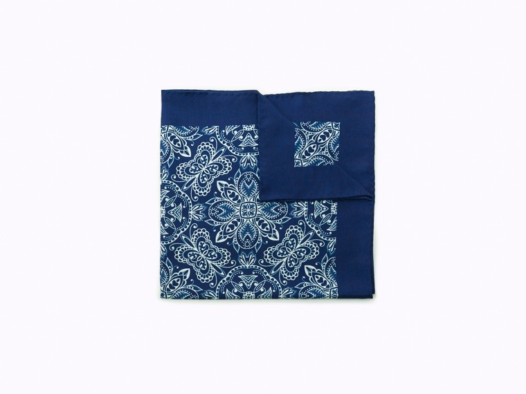 Blue Vintage Damask Silk Pocket Square 1