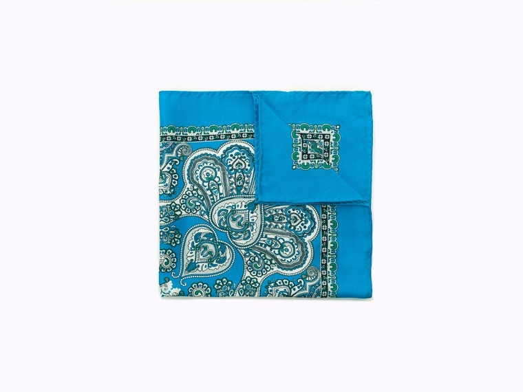 Bright Blue Bohemian Silk Pocket Square 1