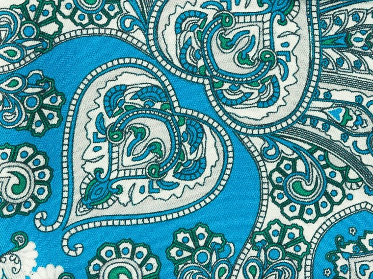 Bright Blue Bohemian Silk Pocket Square 2