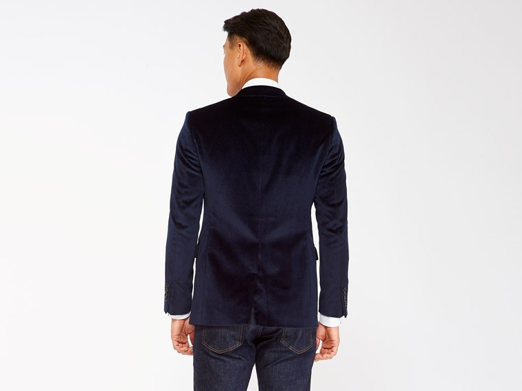 Navy Pin Dot Velvet Blazer 2