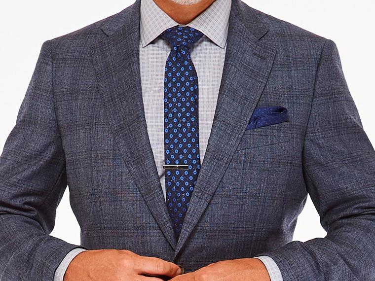 Men's Custom Suits - Slate Plaid Blue Suit | INDOCHINO