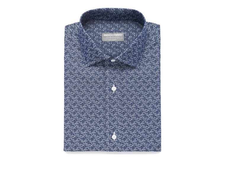 Washed Indigo Abstract Oxford Shirt 1