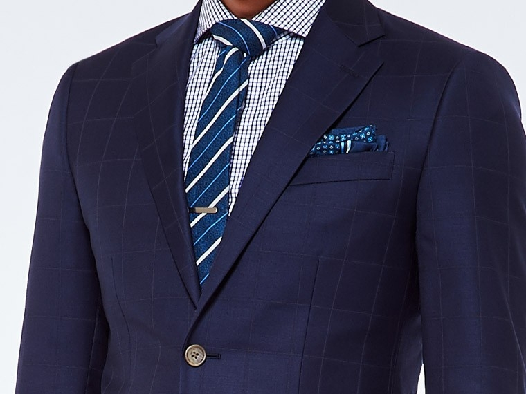 Deep Navy Windowpane Twill Suit