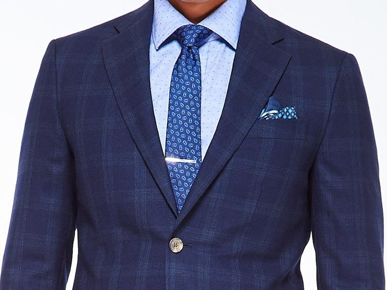 Navy tonal glen plaid suit for Navy suit checkered shirt