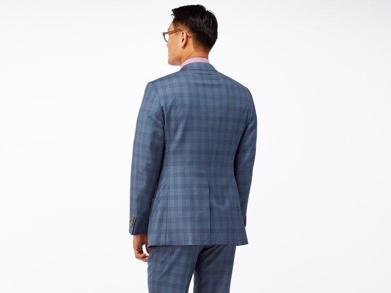 Denim Blue Plaid Suit 2