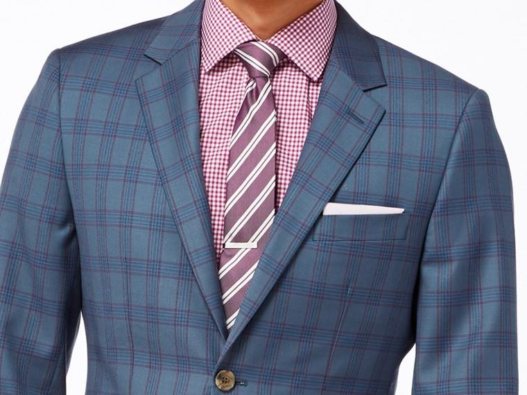 Denim Blue Plaid Suit 1