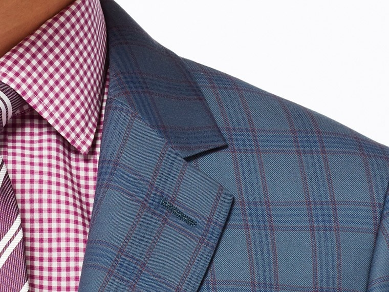 Denim Blue Plaid Suit 5