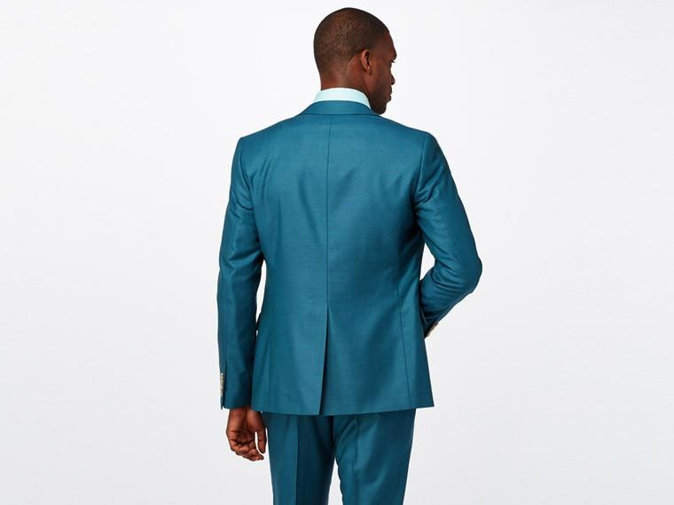 Bright Teal Wool Silk Suit 2