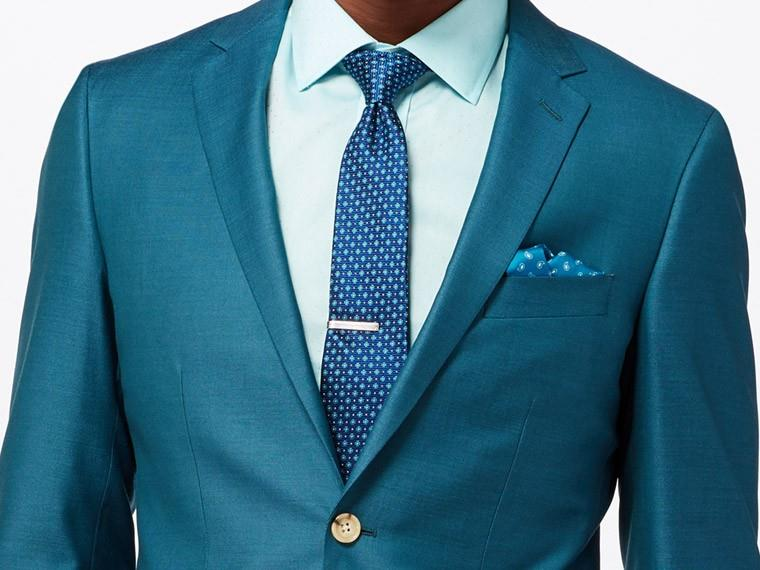 Bright Teal Wool Silk Suit 1