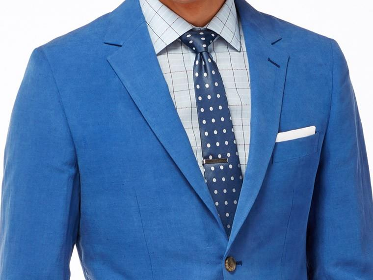 French Blue Silk Linen Suit