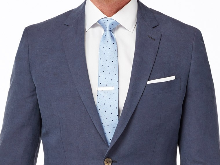 Navy Silk Linen Suit