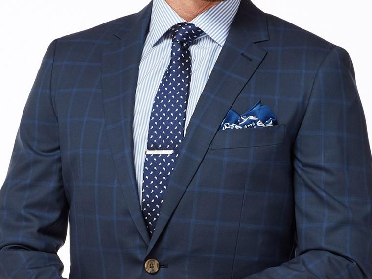 Men's Custom Suits - Navy Royal Blue Plaid Suit   INDOCHINO