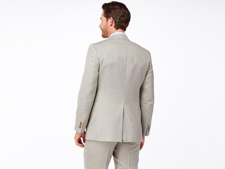 Silver Check Silk & Linen Suit
