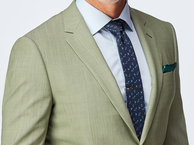 Sage Green Wool Stretch Suit 1