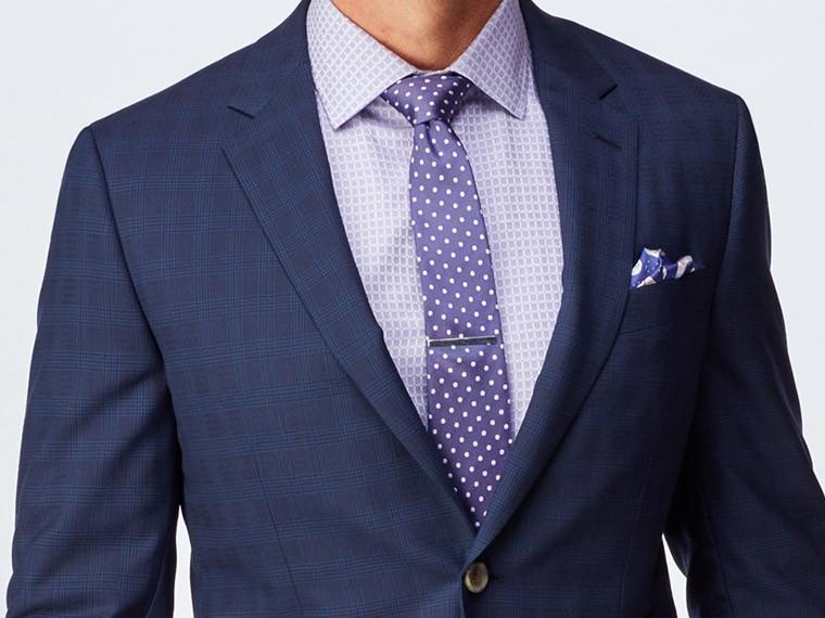 Men's Custom Suits - Navy Tonal Plaid Dobby Blue Suit   INDOCHINO