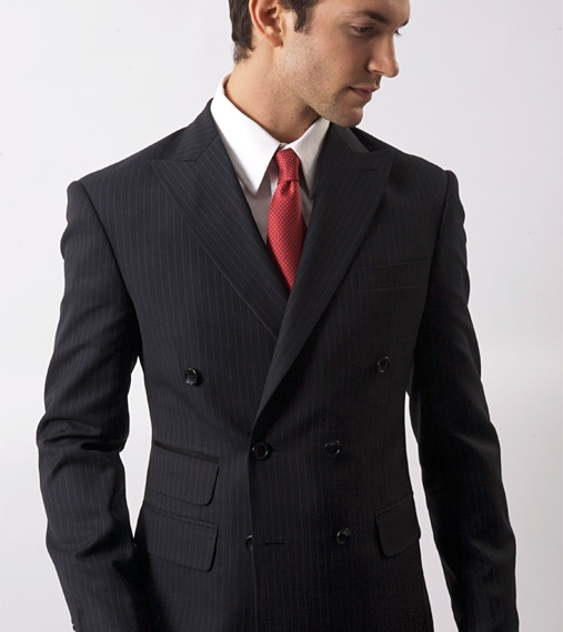 Double Breasted Navy Pinstripe Suit