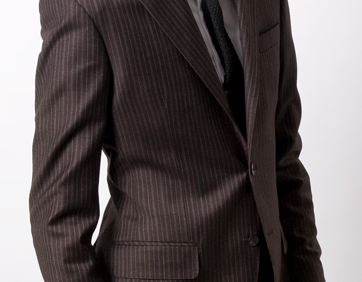 Distinguished Dandy Brown and Blue Pinstripe Suit