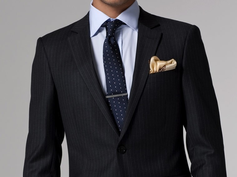 Vincero Charcoal, Red & White Pinstripe Suit 2