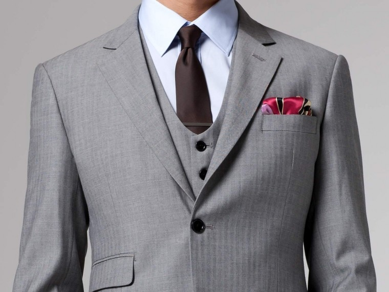 Essential Gray Herringbone Three-Piece Suit 1