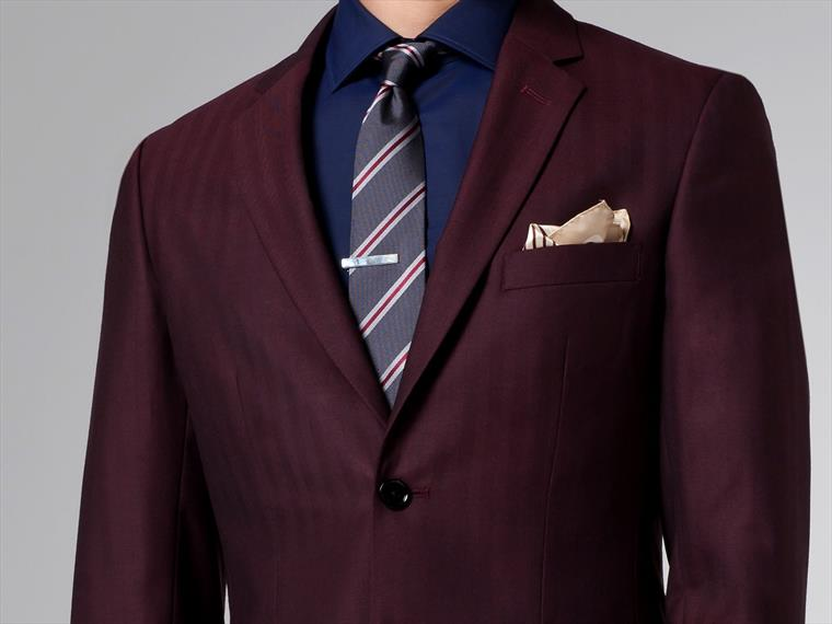 The Burgundy Herringbone Suit 1